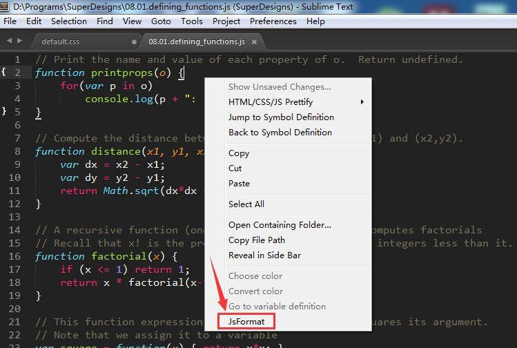 SublimeText3JS格式化插件:JsFormat