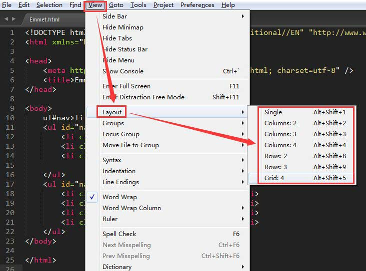 SublimeText3分屏的方法一个窗口同时看多个文件